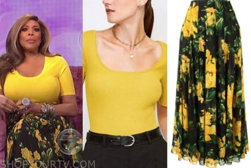wendy williams, the wendy williams show, yellow top, yellow floral skirt