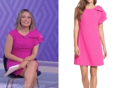 dylan dreyer, the today show, pink ruffle shoulder shift dress