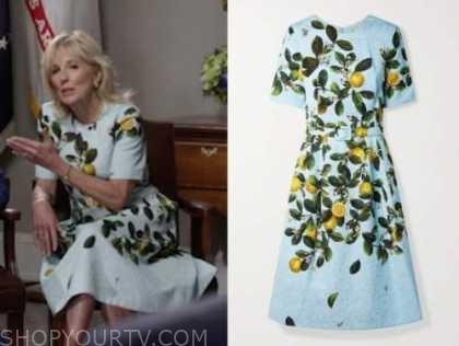 dr. jill biden, the today show, blue lemon print dress