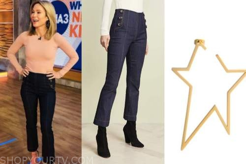 amy robach, good morning america, button jeans, star hoop earrings