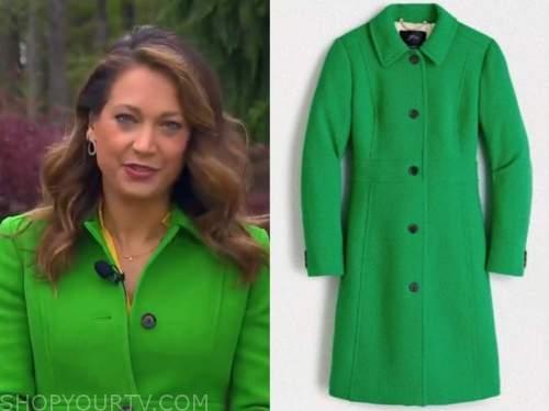 good morning america, ginger zee, green coat