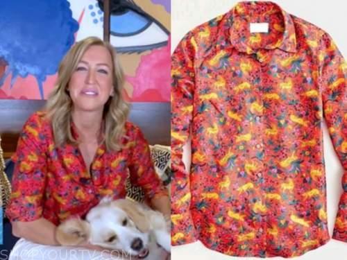 lara spencer, good morning america, red animal print shirt