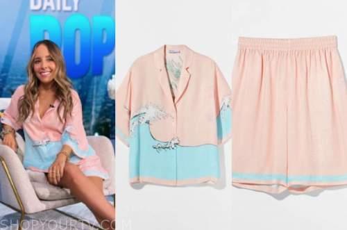 lilliana vazquez, E! news, daily pop, pink and blue satin shirt and shorts set