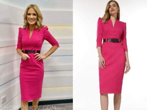 charlotte hawkins, good morning britain, magenta pink belted pencil dress