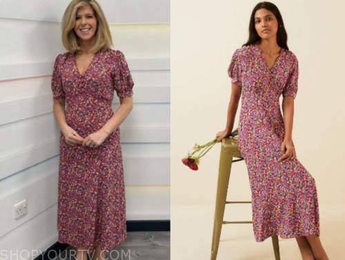 kate garraway, good morning britain, red floral dress