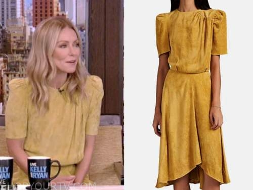 kelly ripa, live with kelly and ryan, yellow suede dress