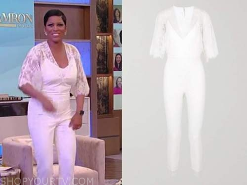 tamron hall, tamron hall show, white lace jumpsuit