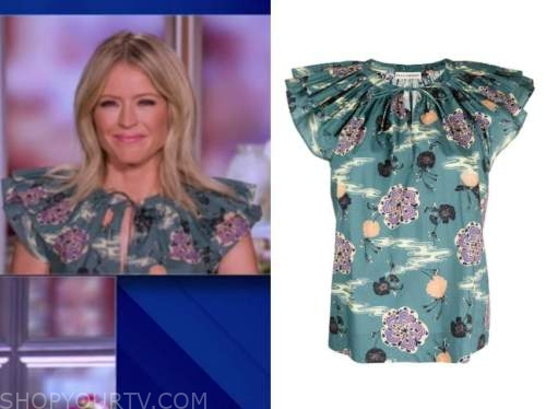 sara haines, the view, green floral top