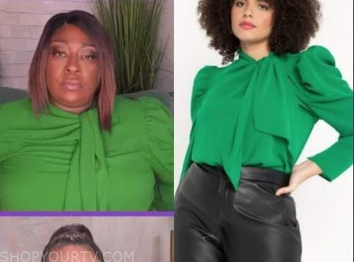 loni love, the real, green tie neck top