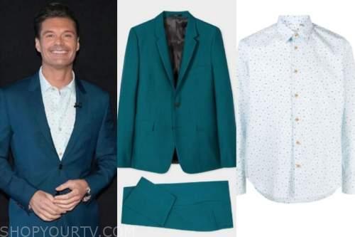 ryan seacrest, american idol, teal suit, music printed shirt