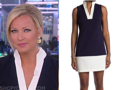 america reports, sandra smith, navy blue and white colorblock dress