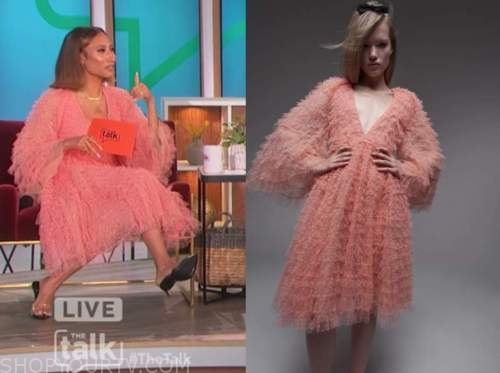 the talk, elaine welteroth, coral pink tulle dot dress