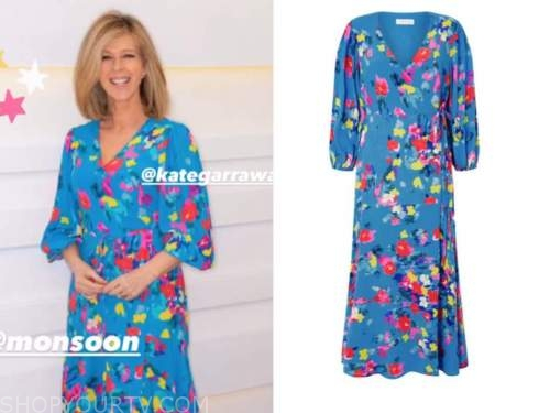 good morning britain, blue floral wrap dress, kate garraway