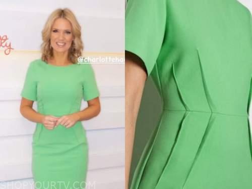 charlotte hawkins, good morning britain, green dress