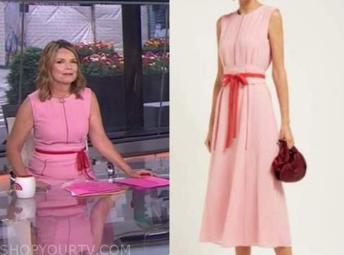 savannah guthrie, the today show, pink and red midi dress