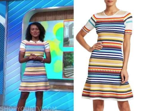 janai norman, good morning america, striped knit dress