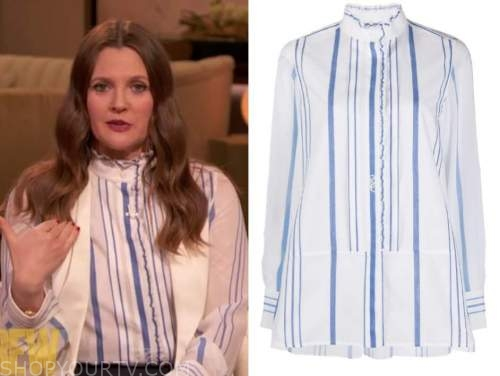drew barrymore, drew barrymore show, blue striped ruffle shirt