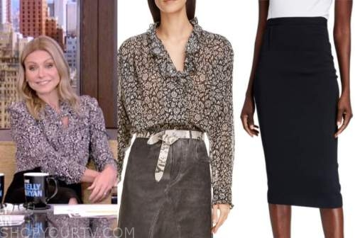 kelly ripa, live with kelly and ryan, black and white floral blouse, black pencil skirt