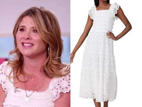 jenna bush hager, the today show, white eyelet midi dress