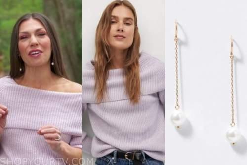 melissa garcia, purple off-the-shoulder sweater, pearl drop earrings, good morning america