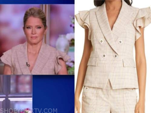 sara haines, the view, beige plaid ruffle blazer top