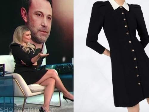 carissa culiner, E! news, daily pop, black and ivory collar shirt dress