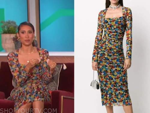 elaine welteroth, the talk, floral mesh dress