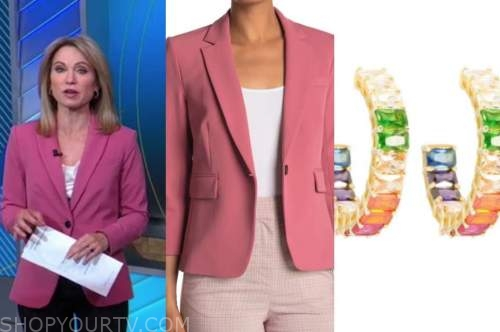amy robach, good morning america, pink blazer, multicolor hoop earrings