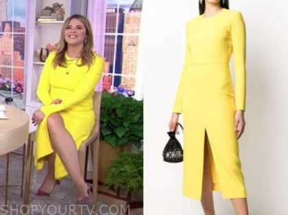 jenna bush hager, the today show, yellow sheath dress