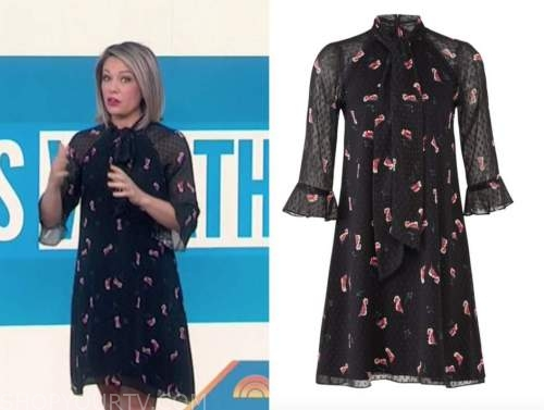 dylan dreyer, the today show, black and pink floral dot shift dress