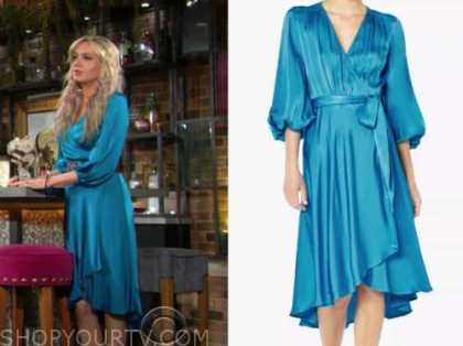 abby newman, melissa ordway, the young and the restless, blue silk wrap dress