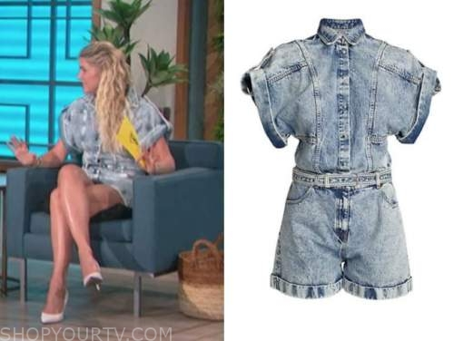 amanda kloots, the talk, acid wash denim romper