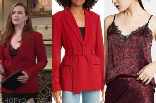 mariah copeland, camryn grimes, the young and the restless, red blazer, red leopard camisole