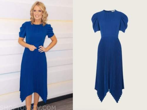charlotte hawkins, good morning britain, blue pleated dress