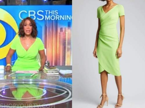 gayle king, cbs this morning, lime green dress