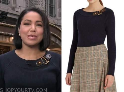 stephanie ramos, navy blue buckle sweater, good morning america