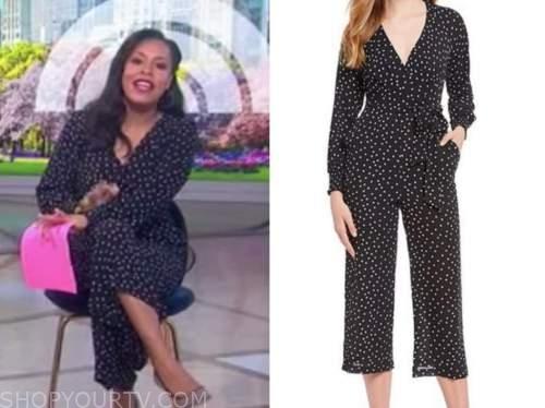 sheinelle jones, the today show, black polka dot jumpsuit