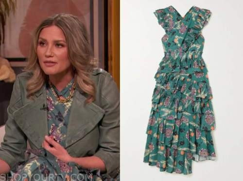 jennifer nettles, drew barrymore show, green teal floral midi dress