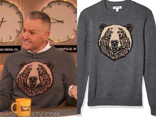 drew barrymore show, ross mathews, bear sweater