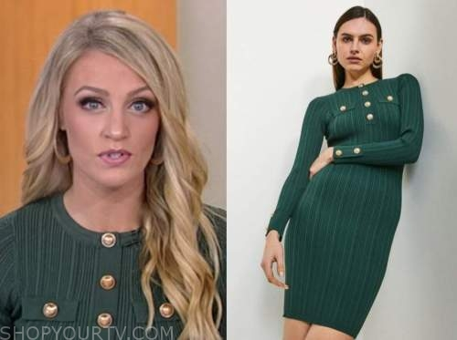 carley shimkus, fox and friends, green military knit dress