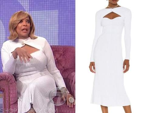 wendy williams, the wendy williams show, white ribbed knit midi dress