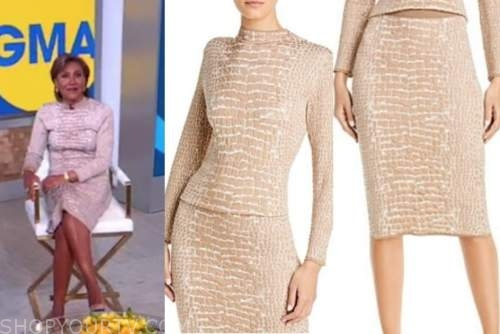 robin roberts, good morning america, beige crocodile print turtleneck and skirt dress