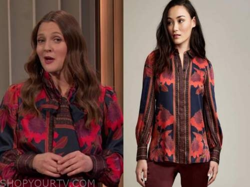 drew barrymore show, drew barrymore, red silk printed shirt