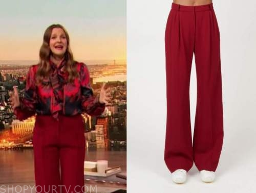 drew barrymore, drew barrymore show, red pants