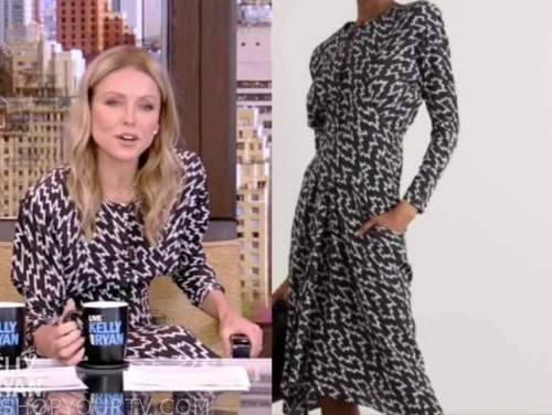 kelly ripa, live with kelly and ryan, black and white printed midi dress