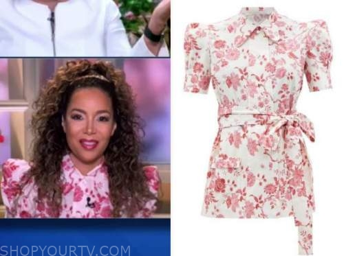 sunny hostin, the view, red and white floral top