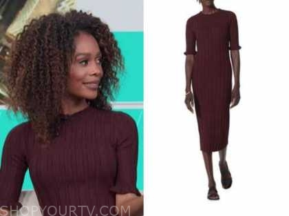 zuri hall, access daily, burgundy ribbed knit midi dress