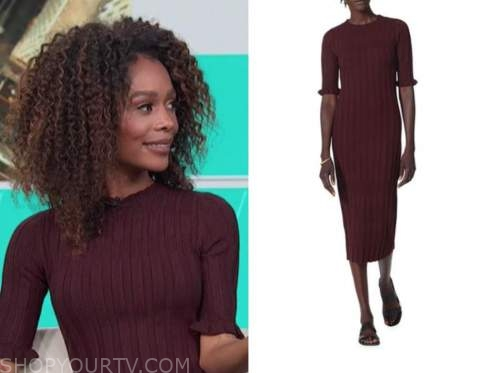 zuri hall, access daily, burgundy ribbed knit midi dress