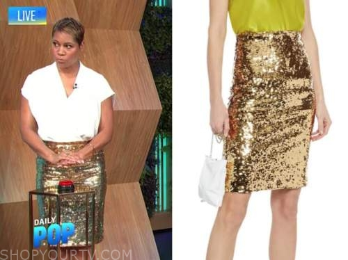 monique kelley, e! news, daily pop, gold sequin pencil skirt