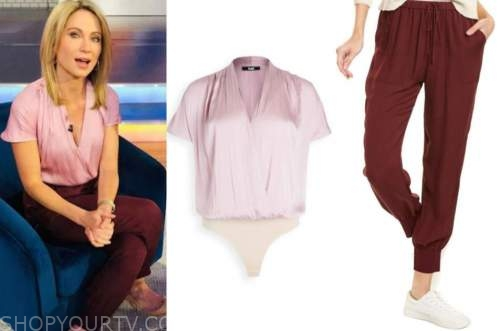 amy robach, good morning america, purple top, burgundy pants